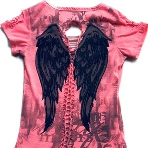 Tops - Cross Angel Wings Rocker Top Xs/Small